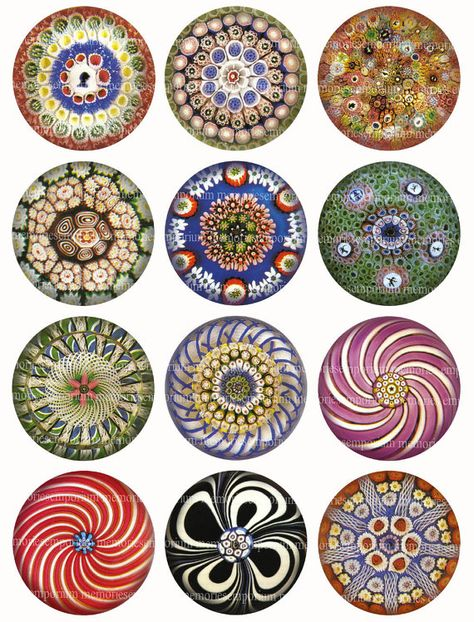 Victorian Paperweights Antique Glass Two 2 inch circles for DIY Compact Decoupage Round Jewelry Buttons Magnets Digital Collage Sheet 185