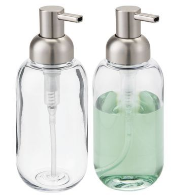 Round Plastic Refillable Liquid Soap Dispenser Pumps Pack Of 2