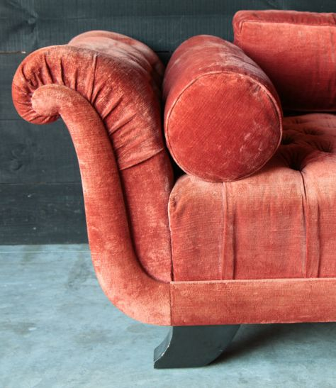 French 1940's velvet button back sofa (watermelon colour)
