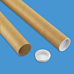 Kraft Mailing Tubes With End Caps 1 1 2 X 12 060 Thick S 5572 Tube Kraft Cap