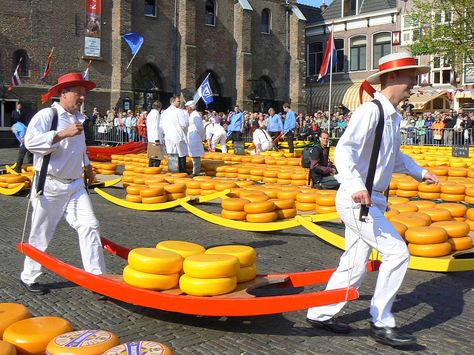A tradition since 1593, the Alkmaar Cheese Market in the Netherlands is the world's largest cheese market.