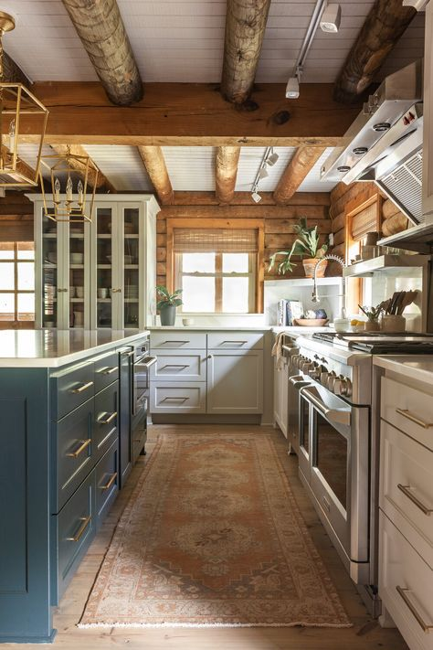 This might be our favorite before and after EVER. The logs don't LIE. Modern Cabin Interior, Cabin Interior Design, Kitchen Interior, Interior Plants, Kitchen Decor, Cabin Style Homes, Log Cabin Homes, Modern Style Homes, Log Cabin Kitchens