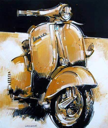 Vespa GS in art. – All things Lambretta & Vespa Vespa GS in der Kunst. Piaggio Vespa, Scooters Vespa, Vespa Ape, Lambretta Scooter, Motor Scooters, Vintage Vespa, Vintage Cars, Motorcycle Art, Bike Art