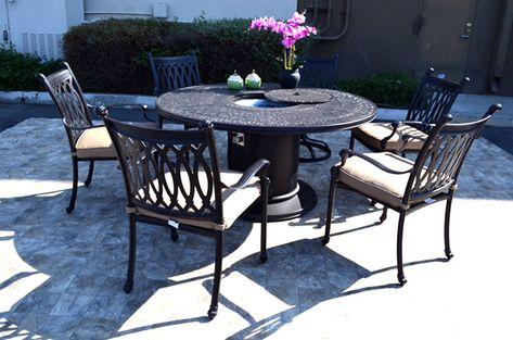 Propane Fire Pit Table Grill Set Cast Aluminum Patio Furniture