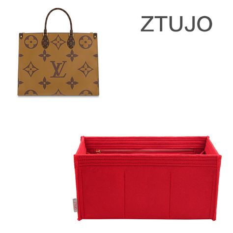 PREMIUM HIGH END VERSION OF PURSE ORGANIZER SPECIALLY FOR LV ONTHEGO MM / GM - Fit LV ONTHEGO MM / Brown