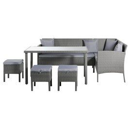 Buy Argos Home 8 Seater Rattan Effect Corner Sofa Set Grey Patio Sets Argos Corner Sofa Set Sofa Set Home