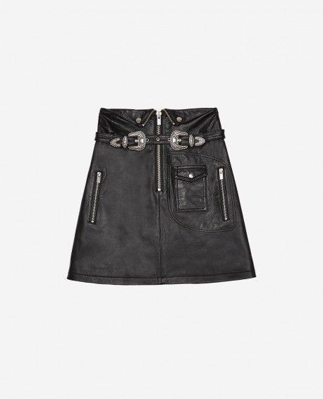 THE KOOPLES Black leather skirt with western buckles   Kooples
