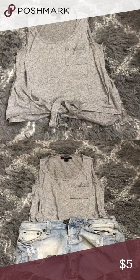 F21 GREY TIE TOP F21 — SIZE S Forever 21 Tops Tank Tops