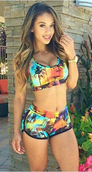 0e95ff4ab1 Sexy Women Bikinis Set Printed Beach Swimsuit Swimwear Crop Tops and ...