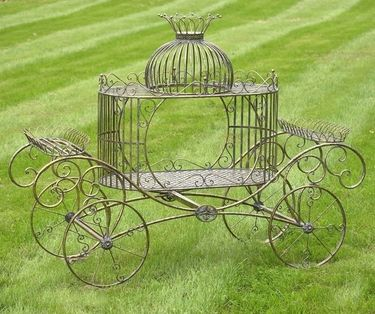 Cinderella Carriage Plant Stand Frosted Gold Plant Stand
