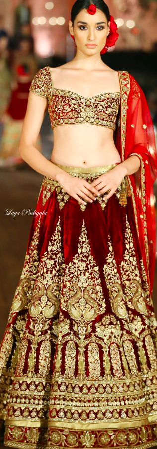 Rohit Bal bridal couture Spring/Summer 2015. red and gold lehenga