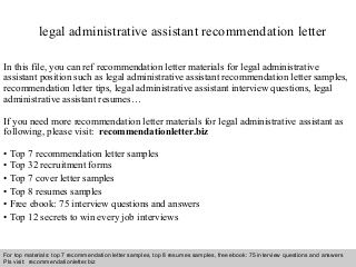 Legal Administrative Assistant Recommendation Letter  Jobs