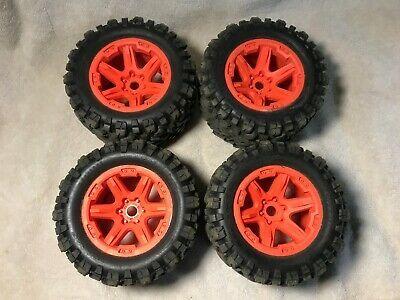 Advertisement Traxxas 1 10 E Revo Vxl 2 0 Talon Ext Tires W Orange Wheels 17mm Hex 4 In 2020 Orange Wheels Traxxas E Revo