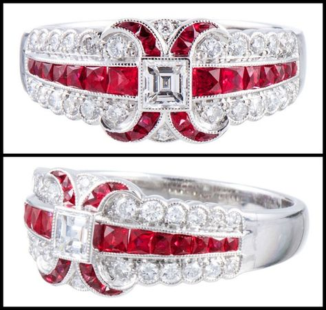 """Art Deco Style """"Lucie Campbell, London"""" Diamond and Ruby Ring in Platinum. Immaculately detailed ring, conceived in the classic art deco sty..."""