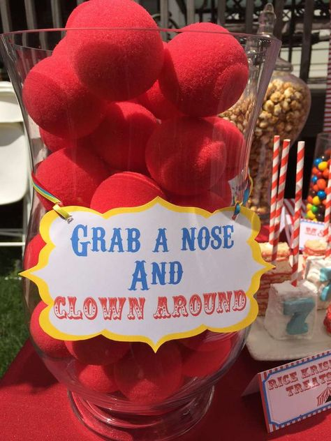 Clown noses at a circus birthday party! See more party ideas at CatchMyParty.com!
