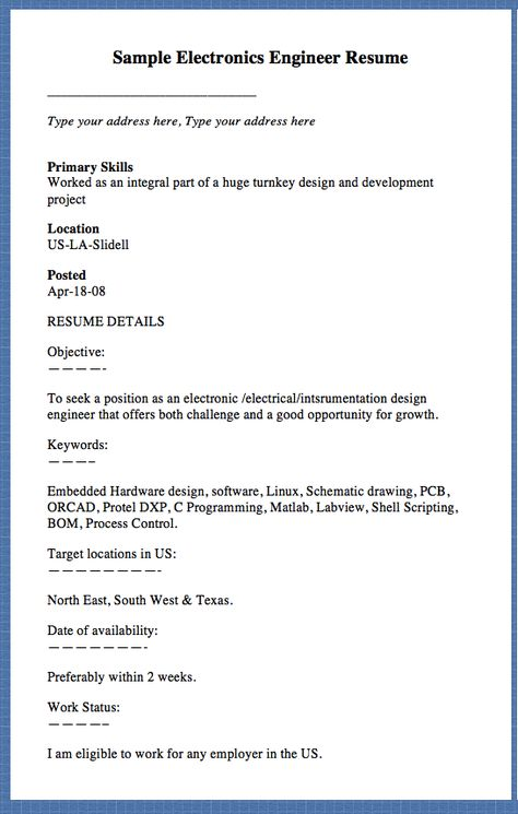 Sample Electronics Engineer Resume Type your address here, Type - master electrician resume