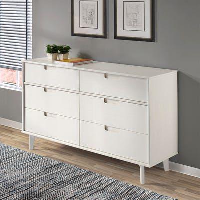 Mid Century Modern 6 Drawer White Dresser Wood Dresser White Dresser Furniture