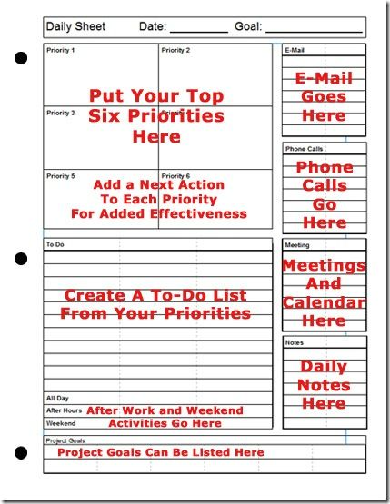 Printable Daily Planner The Top-Six Strategy for Success Oooooh - daily task calendar template