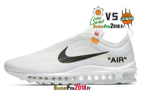 detailed look bc867 c9b9a Chaussures Basket Prix Pas Cher Homme Off-White X Nike Air Max 97 Blanc Noir  AJ4585-100