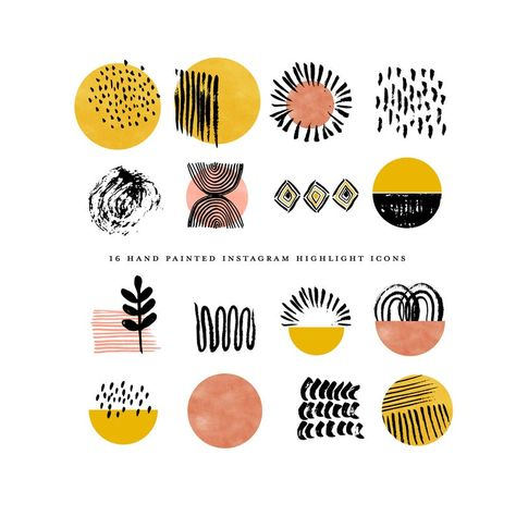 Boho instagram story highlight icons - watercolor instagram highlight cover - mustard abstract circles - hand painted geometric clipart