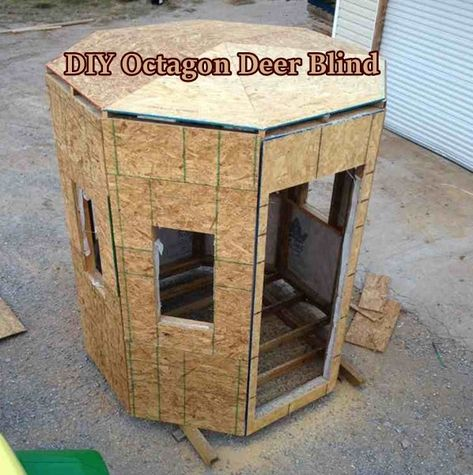 If you are needing a deer blind for fall, check out this diy octagon deer blind. It has a window on all sides and he put a swivel seat in it. Coyote Hunting, Hunting Dogs, Archery Hunting, Pheasant Hunting, Turkey Hunting, Whitetail Hunting, Hunting Stands, Deer Stands, Deer Stand Windows