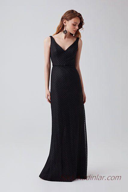 2019 Abiye Elbise Modelleri Siyah Uzun Derin V Takali Kolsuz Sade Elbise Modelleri Elbise Resmi Elbise