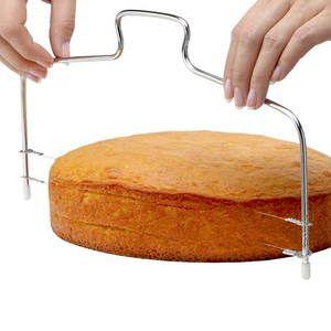 Hoomall Bakeware Nivelador Fio Ajustável Bolo Slicer Cortador De Aço Inoxidável Faca De Pão De Pastelaria P Cortadores De Bolo Bolinho Assado Nivelador De Bolo