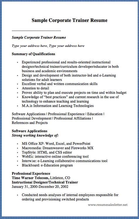 Sample Of Warehouse Supervisor Resume - http\/\/resumesdesign - technical trainer resume