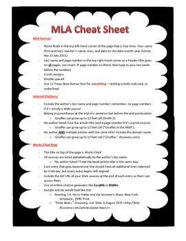 Mla Cheat Sheet By Ela And Spanish Resources Teachers Pay Teachers Mla College Writing Mla Citation