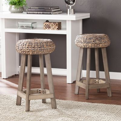 Cunningham Backless Natural Woven Stools Set Of 2 With Images
