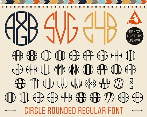 Kreis Fett Monogramm Schrift Svg 3 Runden Buchstaben Etsy