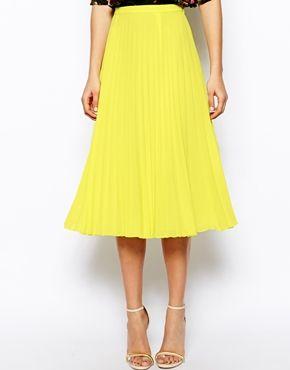 yellow pleated midi skirt