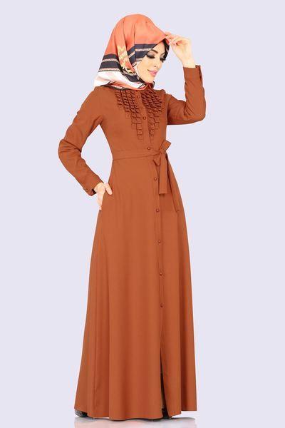 Modaselvim Ferace Onu Incili Kemerli Ferace 2131ms212 Kiremit The Dress Elbise Moda Stilleri