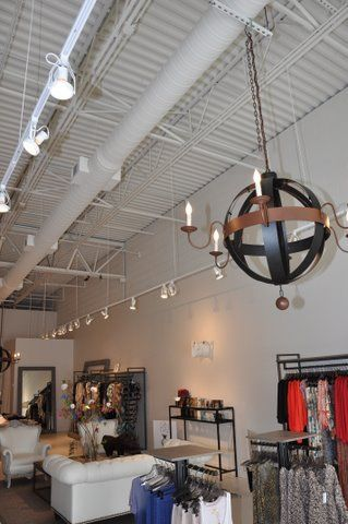 open ceiling lighting. exposed ceilings painted white with dryfal paint spiral duct work and track lighting atlanta ga store interiors exteriors pinterest open ceiling e