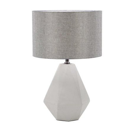 Decmode Modern Concrete And Iron Faceted Pear Shaped Gray Table Lamp Light Gray Walmart Com Grey Table Lamps Concrete Lamp Table Lamp