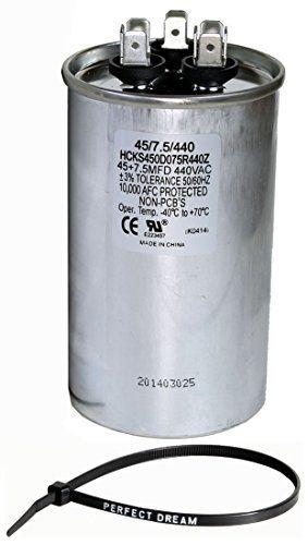 Tradepro 45 7 5 Uf Mfd 370 Or 440 Volt Dual Run Round Capacitor Bundle Tp Cap 45 7 5 440r Condenser Straight Cool Heat Pump Air Conditioner And Zip Tie A Capa