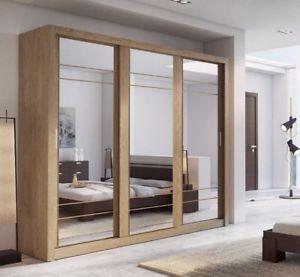Brand New Modern Bedroom Sliding Door Mirror Wardrobe Arti 2 250cm Shetland Oak Ebay Sliding Wardrobe Wardrobe Doors 3 Door Sliding Wardrobe