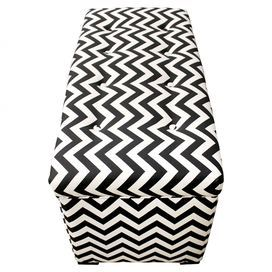 """Perfect for stowing throws in the living room or board games in the den, this wood-framed storage ottoman showcases a chic black and white chevron motif.   Product: Storage bench Construction Material: Wood and upholstery fabricColor: Black and white Features: Hinged lid Ample storage space      Dimensions: 20""""  H x 37""""  W x 19""""  D"""