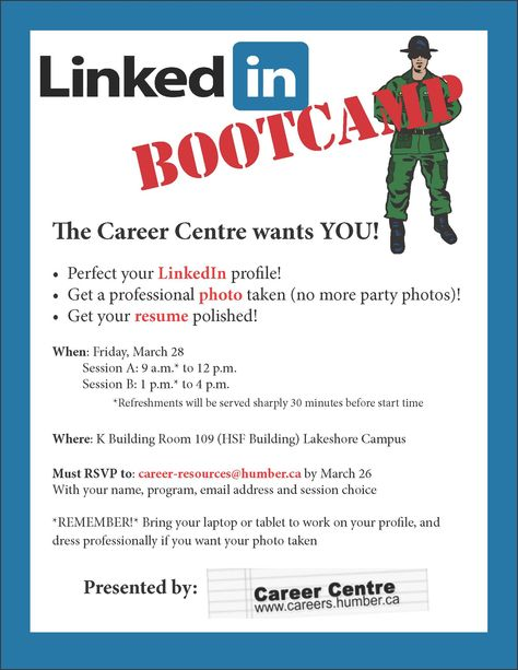 LinkedIn Boot Camp by the Career Centre at Humber Lakeshore Campus - get resume from linkedin