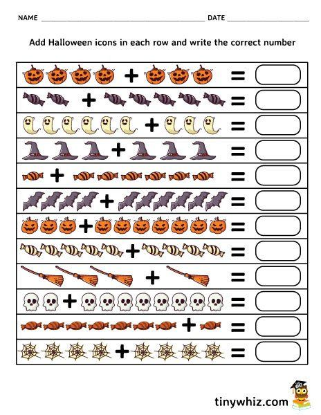Free Halloween Worksheets For Kindergarten Free Printable Halloween Addition W Halloween Worksheets Halloween Math Worksheets Kindergarten Worksheets Printable