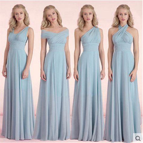 Dusty Blue Bridesmaid Dresses Chiffon Fall Winter Bridesmaid Dress Cheap Prom Vestido De Festa De Casamento Long-Party-Dress