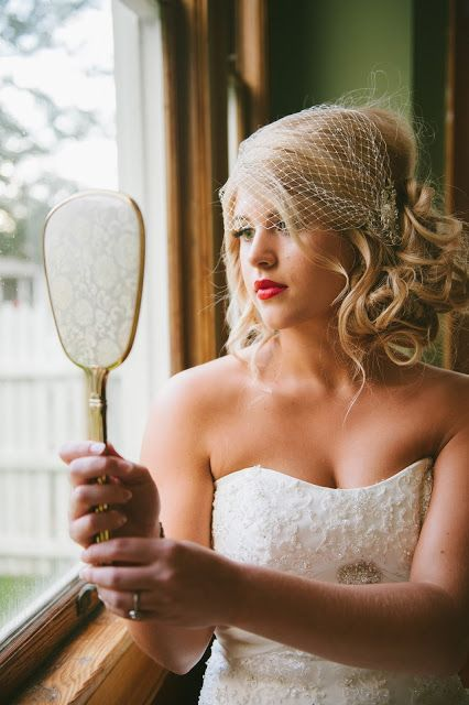 The Honey Pot: The beautiful bride frisuren haare hair hair long hair short Wedding Hair And Makeup, Wedding Beauty, Bridal Hair, Dream Wedding, Hair Wedding, Wedding Bride, Hair Makeup, Veil Hairstyles, Vintage Hairstyles