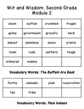 Wit and Wisdom Vocabulary 2nd Grade Module 2 | Wit, wisdom ...