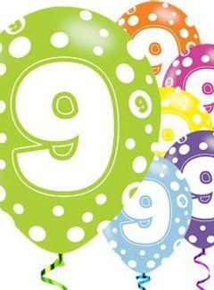 Betere 9 jaar dots ballonnen (met afbeeldingen)   Ballon, 9de verjaardag LK-44