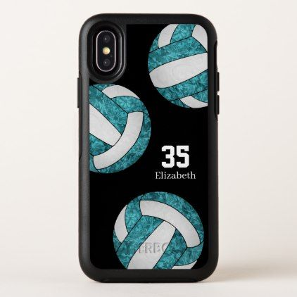 Cute Teal White Girls Sports Volleyball Otterbox Iphone Case Zazzle Com Iphone Cases Otterbox Otterbox Iphone Volleyball Phone Cases