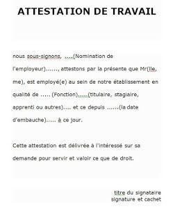 Attestation De Travail Exemple Algerie Model Attestation