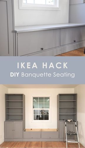 ikea hack, diy banquette seating, ikea havsta bench seating breakfast nook for dining table This is an IKEA HAVSTA hack for banquette seating. In this post, I'm sharing why I chose IKEA HAVSTA cabinet for this built-in, the cost and DIY process. Banquette Seating In Kitchen, Kitchen Benches, Built In Dining Room Seating, Dining Nook, Dining Table Bench Seat, Diy Bench Seat, Banquette Bench, Living Room Seating, Kitchen Nook