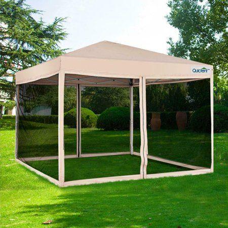 Quictent 10x10 Ez Pop Up Canopy Tent With Netting Screen House Mesh Screen Walls Waterproof Roller Bag Tan Walmart Com House Tent Screen House Canopy Tent