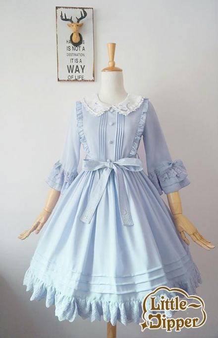 Little Dipper -The Cat Who Wants to Reach for the Stars- Embroidery Collar OP [Hime Sleeves Version],Lolita Dresses,