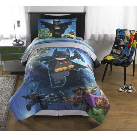 5 Piece Full Size Lego Batman Bedding Set Includes 4pc Full Sheet